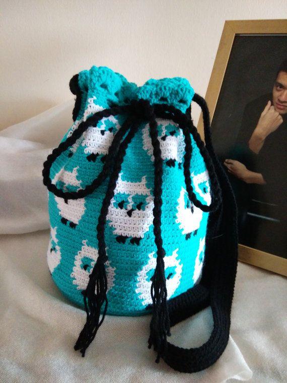 Crochet Turquoise Owl Sling Bag. Owls Bag Hobo bag. Bird