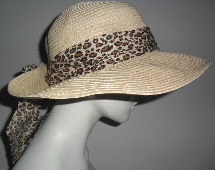 NEW M&S LADIES SUMMER FLOPPY STRAW HAT ANIMAL PRINT BOW SIZE M/L
