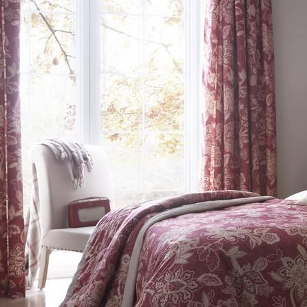 Dorma Red Samira Lined Pencil Pleat Curtains #dunelm #home #pantone #radiantorchid