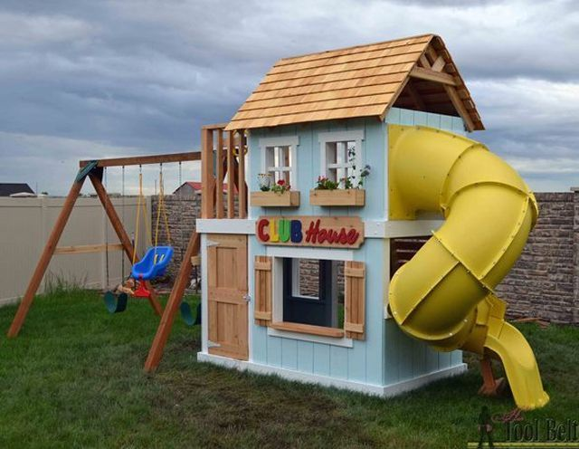 25 best ideas about wooden swing sets on pinterest for Backyard clubhouse plans