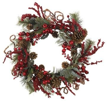 "24"" Assorted Berry Wreath asian-wreaths-and-garlands"