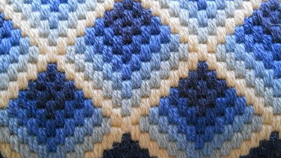 BARGELLO Ombre Pillow Small Blue White Zipper Back 1970s