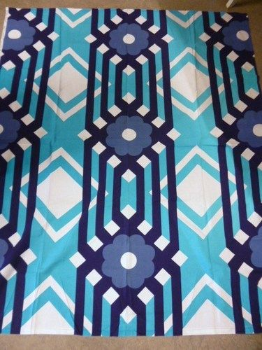"Fin Helen Finland ""Sik Sak"" Vintage Fabric Blue White 70'S | eBay"