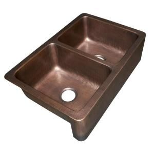 Sinkology Rockwell Farmhouse A Front Handmade Pure Solid Copper 33 In Double Basin Kitchen Sink