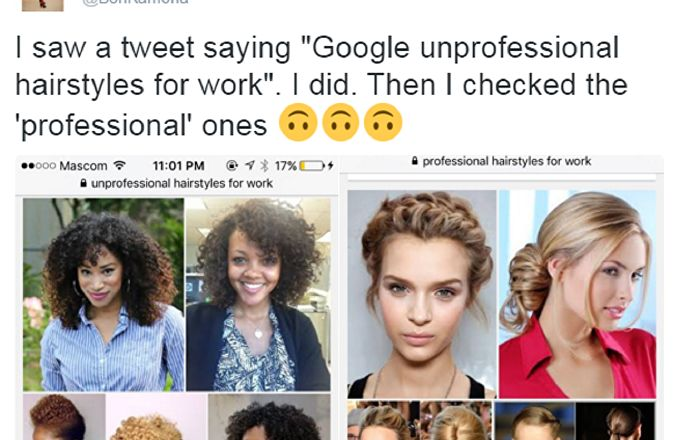 """A tweet regarding the racist tones of Google image search results of """"unprofessional hair styles at work"""" has gone viral, though many have now noted that the results are at least partially due to articles and Pinterest boards denouncing anti-black bias in the popular definition of professionalism."""