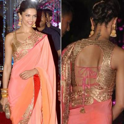 With a simple sleeveless choli, you can play with the pattern at the back, just like Deepika, and create an ultra-glamorous look.