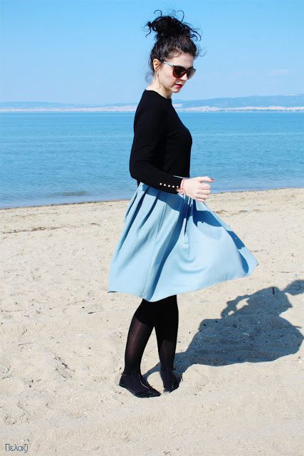 Pelagie de Paris: Μπλε στο μπλε Φούστα με πιέτες