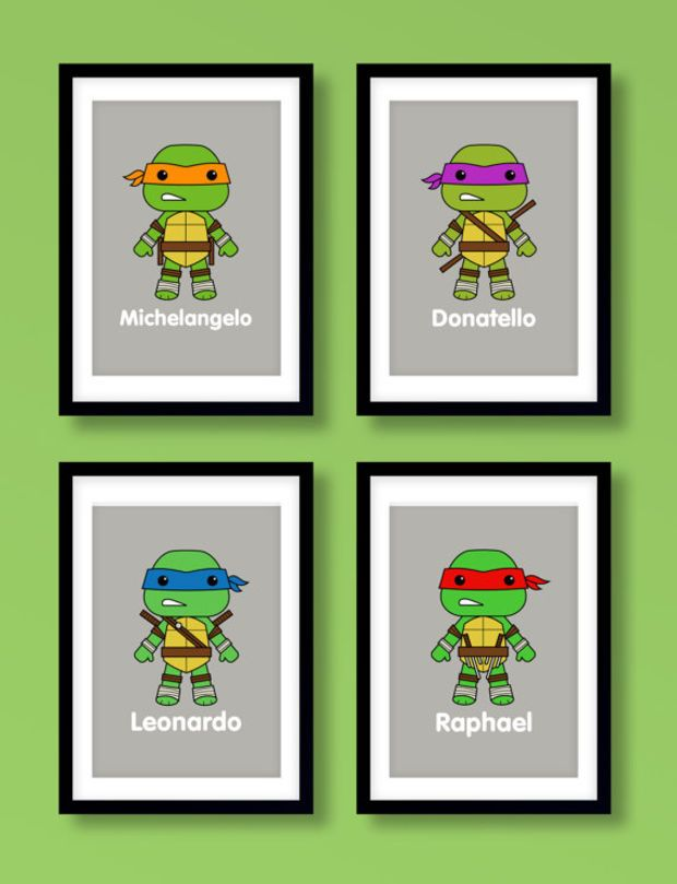 Ninja Turtles wall art, boys wall art, Teenage Mutant Ninja Turtles, kids…
