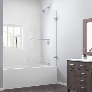 dreamline aqua uno 34x58inch single panel hinged tub door in brushed nickel overstock