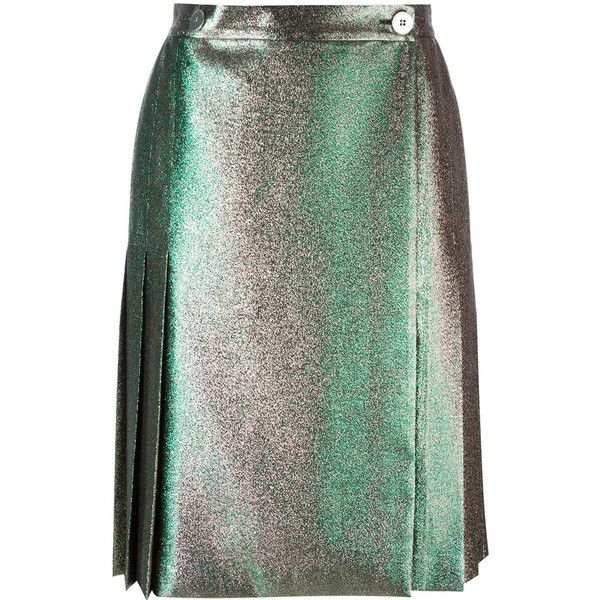 Marco De Vincenzo Back Pleat Skirt (2.305 BRL) ❤ liked on Polyvore featuring skirts, metallic, metallic pleated skirt, pleated skirt, knee length pleated skirt, marco de vincenzo and metallic skirts
