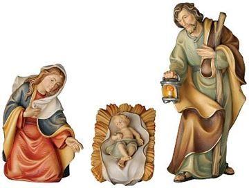 Holy family of the peace nativity set, Val Gardena wood carving
