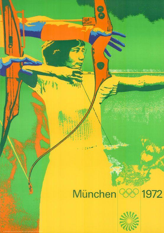 Olympische Spiele 1972 München DIN A0 Motiv Bogenschießen OLYMPIADE Otl Aicher