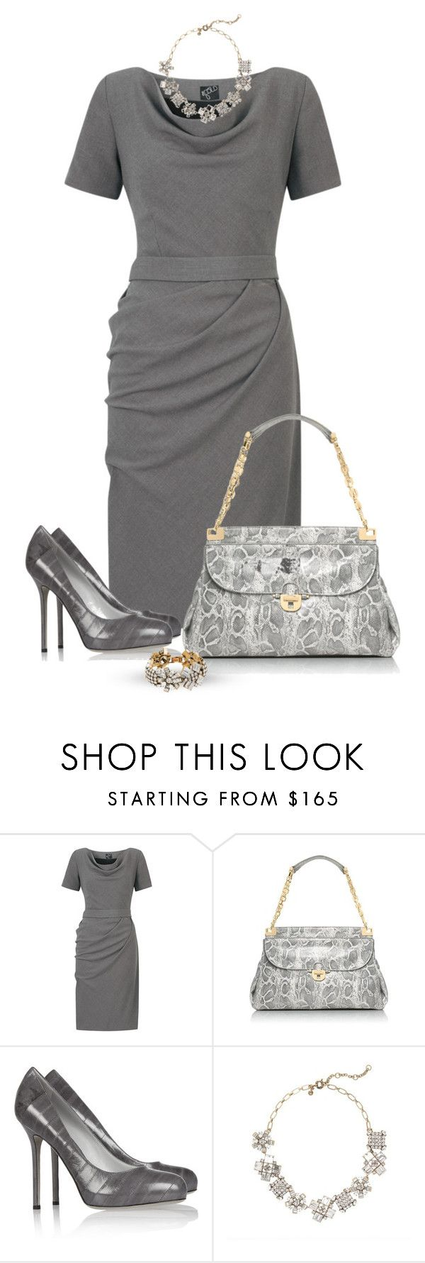 """Gray dress"" by marincounty ❤ liked on Polyvore featuring Tory Burch, Sergio Rossi and J.Crew"