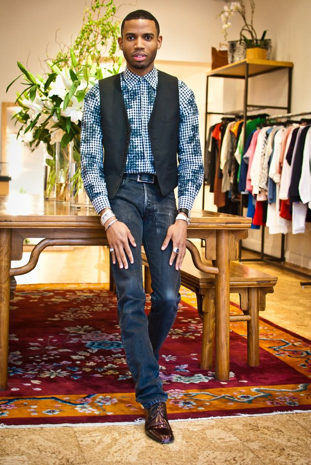 Jil Sander Shirt, vintage vest, Dior Homme jeans, Lanvin shoes, and jewelry by Louis Vuitton, Hermés, John Hardy, Philip Stein, and Jessica Biales.