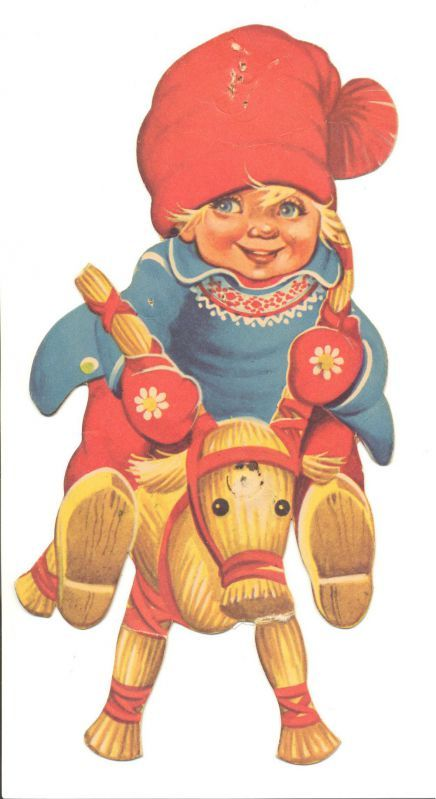 Lars Carlson...Nisse on a straw horse illustration.