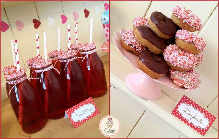 Drinks and donuts at a Valentine's Day party! See more party planning ideas at CatchMyParty.com!