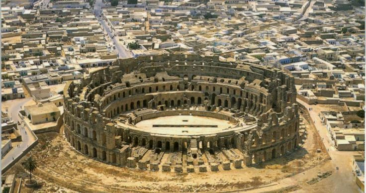 Roman Amphitheatre of El Jem, Tunisia The 3rd biggest amphitheater known to man, so impressive that they filmed Russel Crowe's Gladiator here.  It could hold up to 35,000 people.  Built in 300AD.