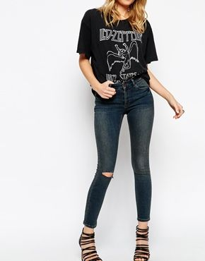ASOS Lisbon Skinny Mid Rise Ankle Grazer Jeans in Dusk Dark Wash Blue with Ripped Knee