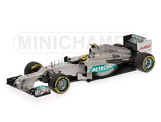 Mercedes Petronas W03 (Nico Rosberg - 2012) Diecast Model Car by Minichamps 110120008 This Mercedes Petronas W03 (Nico Rosberg - 2012) Diecast Model Car is Grey and features working wheels. It is made by Minichamps and is 1:18 scale (approx. 24cm / 9.4in long).