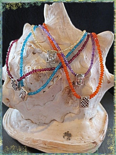 Chakras Necklaces with OM/BUDDHA silver pendant