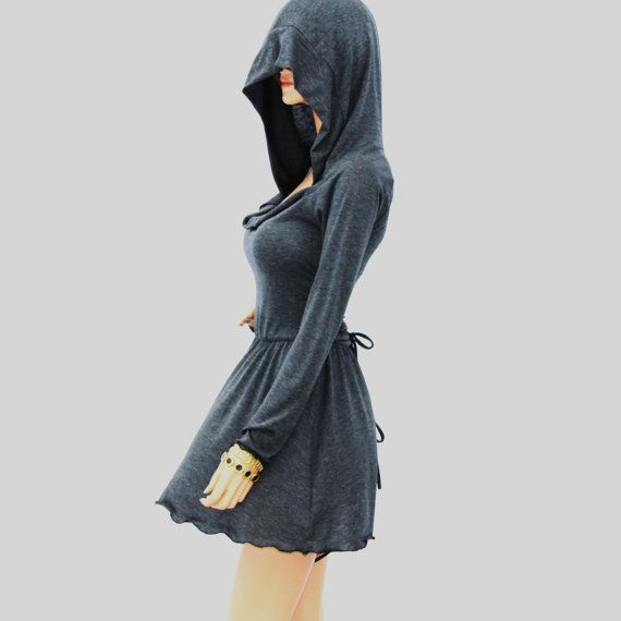 Cowl Neck Hooded dress//Women dress//Women shirt dress// Long sleeve dress HD-GY-B on Etsy, $79.00