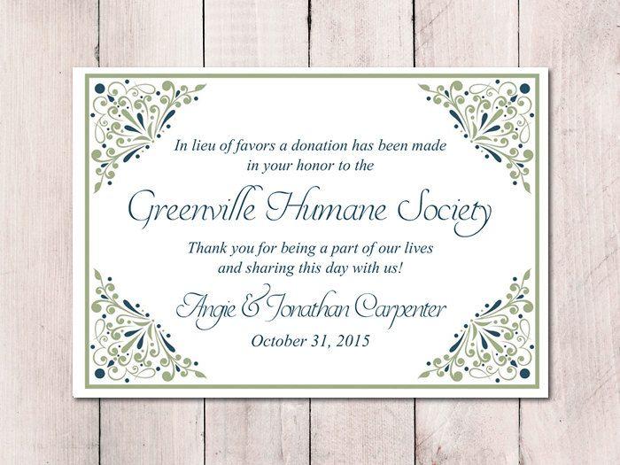 "Wedding Favor Donation Card Template - Sage Peacock Blue Wedding Charity Favor Donation Card ""Madison"" Wedding Favor - DIY Wedding by PaintTheDayDesigns on Etsy"