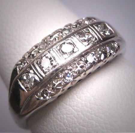 Cool Antique Triple Row Diamond Wedding Ring Band Art Deco K