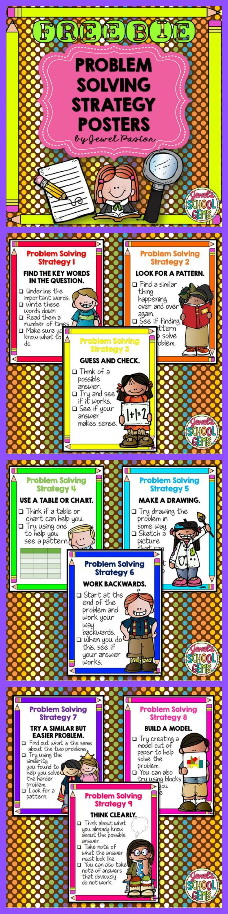 PROBLEM SOLVING STRATEGY POSTERS FREEBIE | Get these posters for FREE when you become a Jewel's School Gems Subscriber! #problemsolving #wordproblems #math