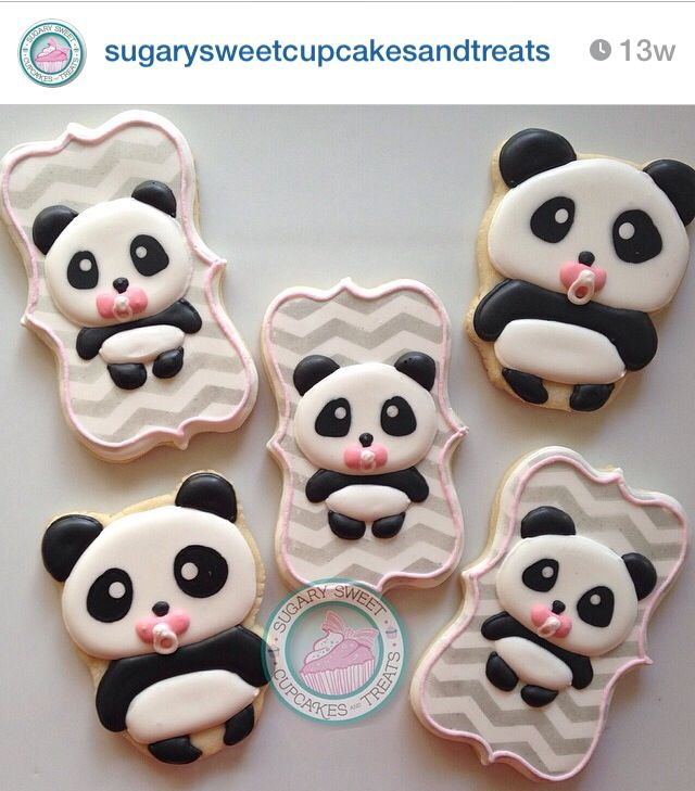 Panda baby shower cookies