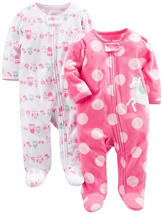 b6f290b46e45 Amazon.com  Simple Joys by Carter s Baby Girls  2-Pack Fleece Footed ...