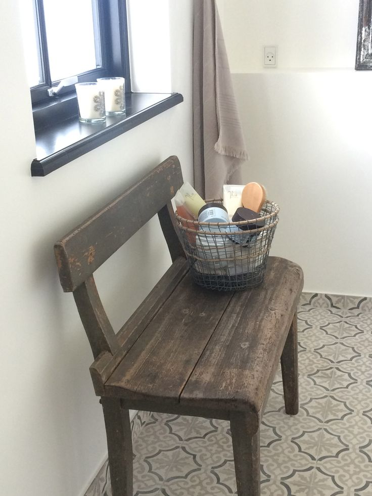 Maroc Tiles   And Old Wooden Bench