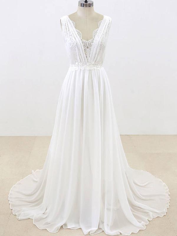 Sleeveless Chiffon Wedding Dresses,Backless Bridal Dresses With Lace