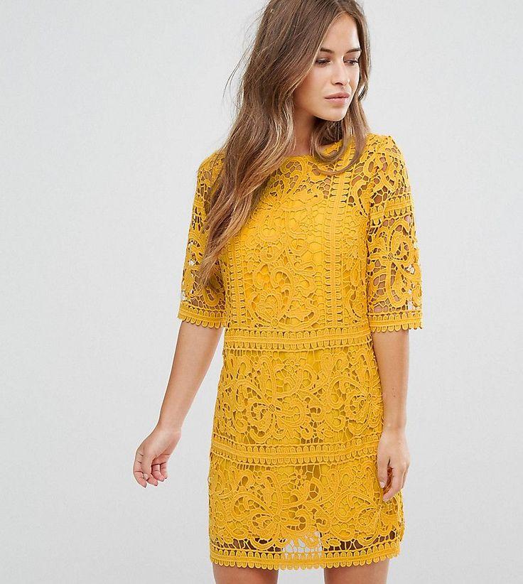 Little Mistress Petite All Over Cutwork Lace Mini Aline Dress - Yellow