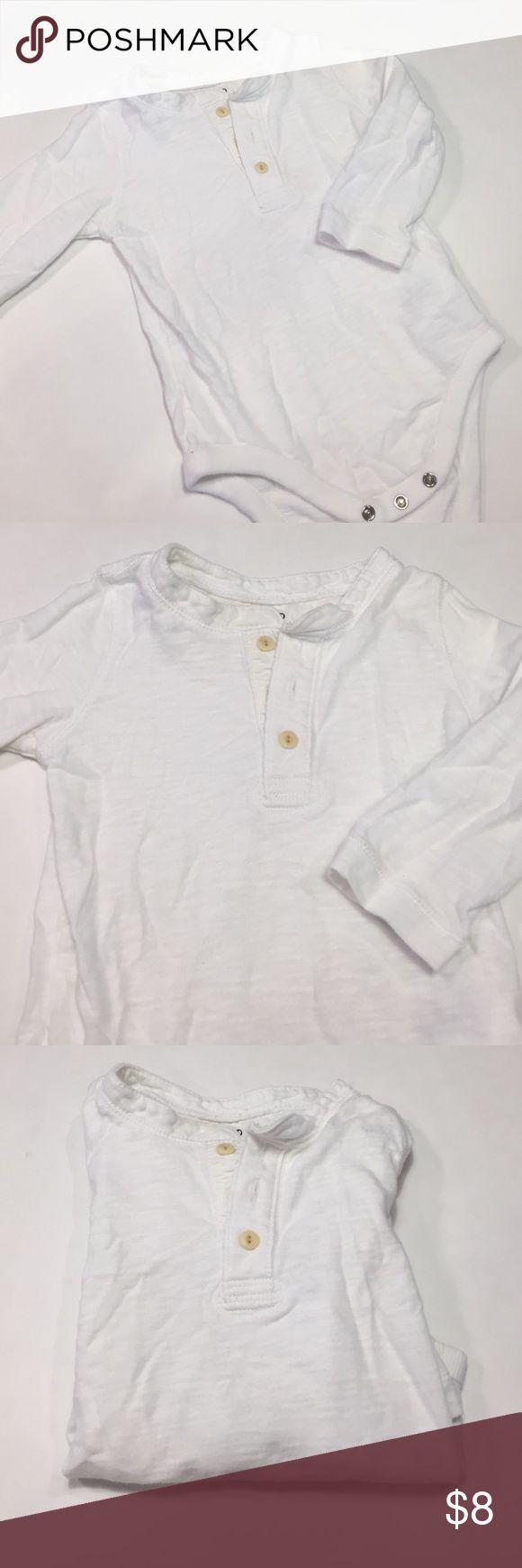Gap baby white Henley top GUC Gap baby white Henley top GUC GAP Shirts & Tops Tees - Long Sleeve