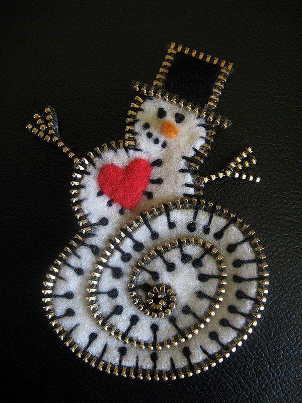 Snowman made out of Zippers and Felt, Cool Zipper Crafts, http://hative.com/cool-zipper-crafts/,