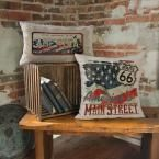American Spirit Oyster Route 66 Route Decorative Pillow, Oyster (Route 66)