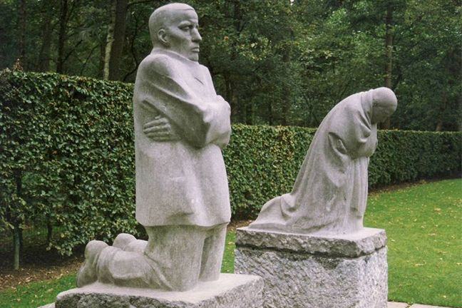 This a photograph of The Grieving Parents sculpture