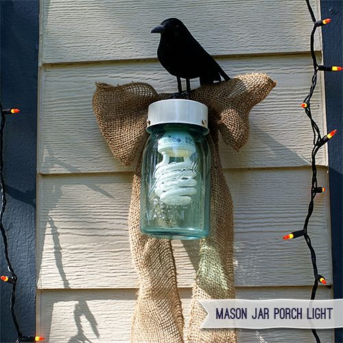 Mason Jar Craft Porch Light so cute for Fall! From Saved by Love Creations.