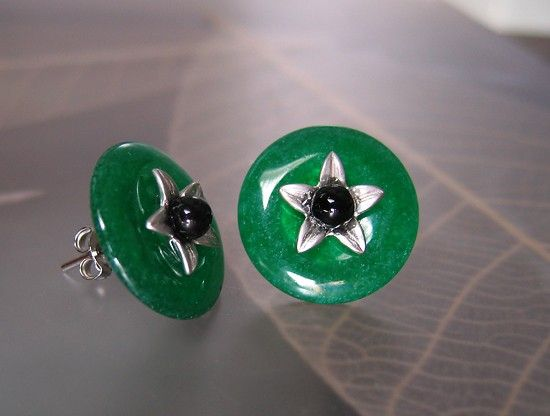 green button green jade onyx by sonhee on Etsy, $38.00
