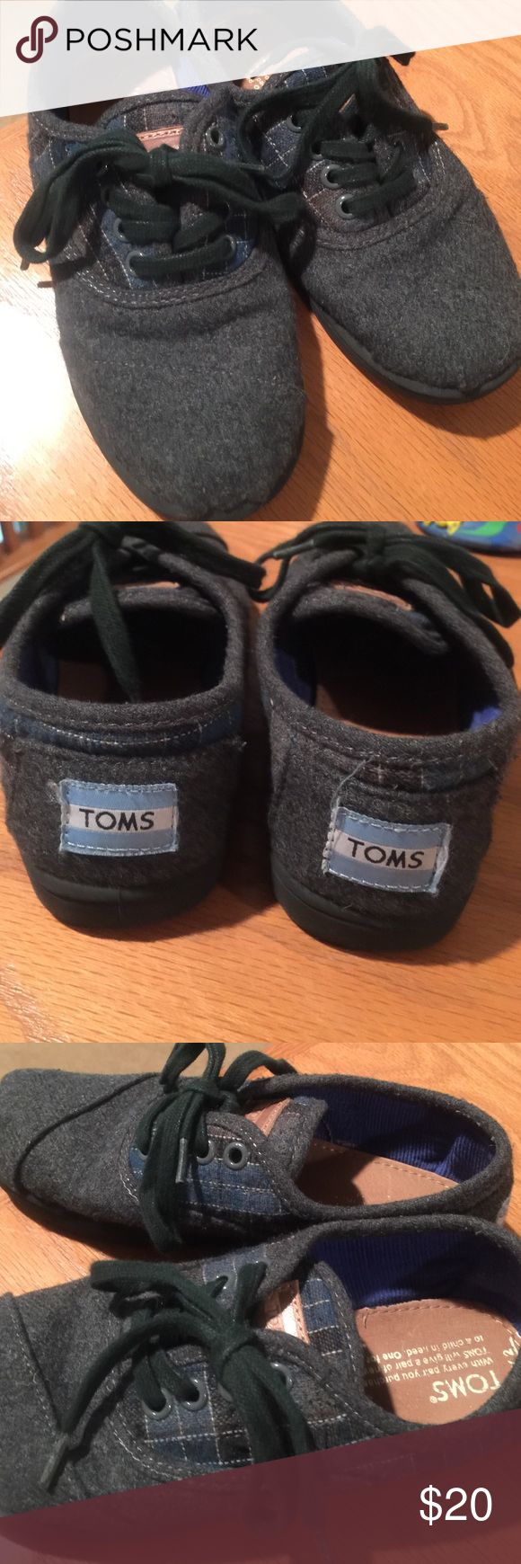 Kid Tom's Gray super comfortable kid shoes perfect for fall TOMS Shoes