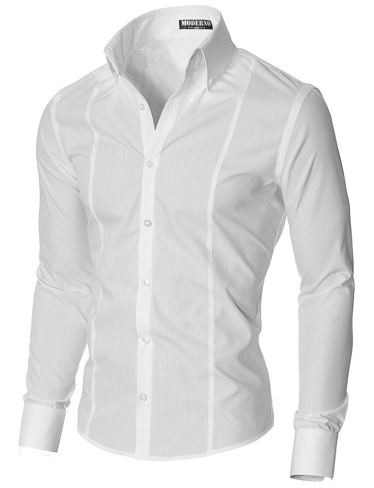 Мъжка риза с дълъг ръкав и нестандартна яка (MSSF501) бяла