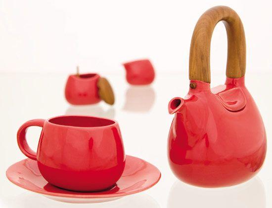 """Red """"HandBag"""" Tea pot"""