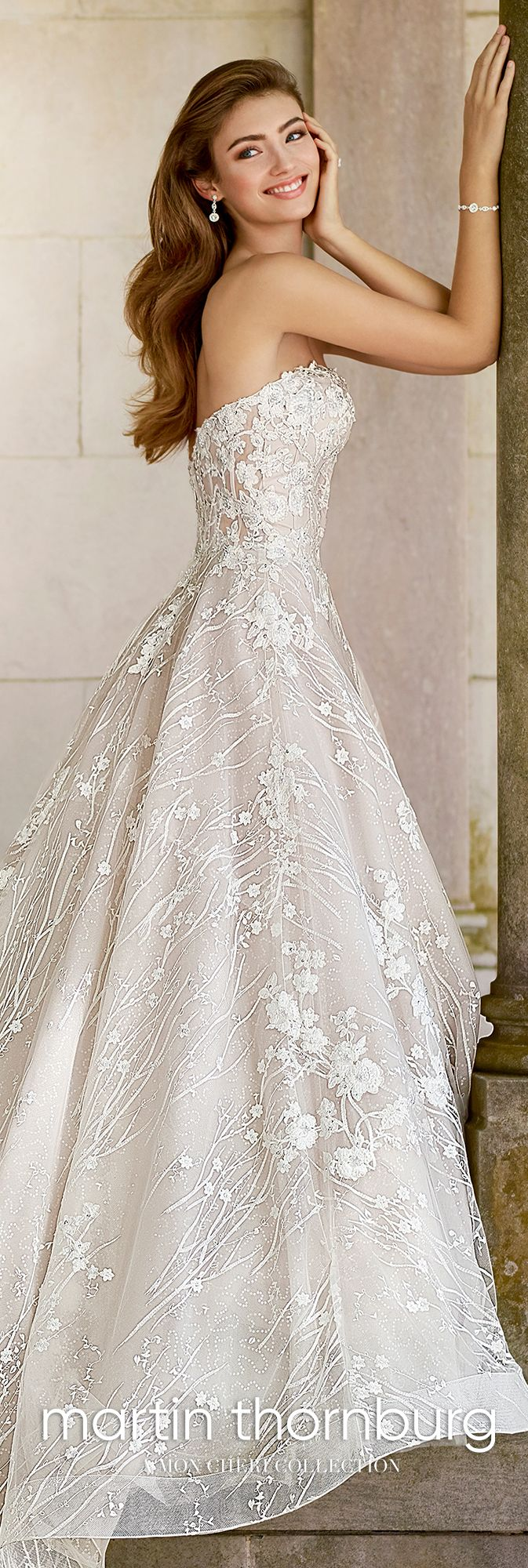 Whimsical Strapless Sweetheart Lace Wedding Gown - 118281 Coda