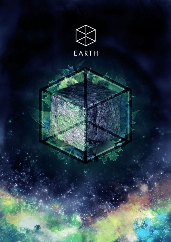 Earth Element and it's Sacred Geometric Symbol ~ Hexahedron (Cube) 6 Faces Squares by Sanchit Sawaria