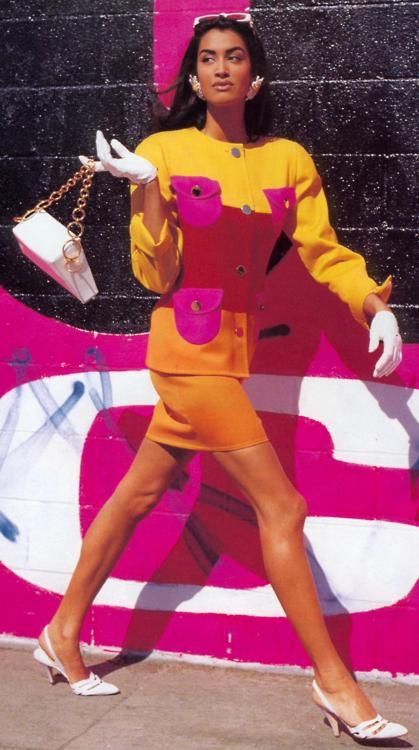 1980s Yellow and Hot Pink