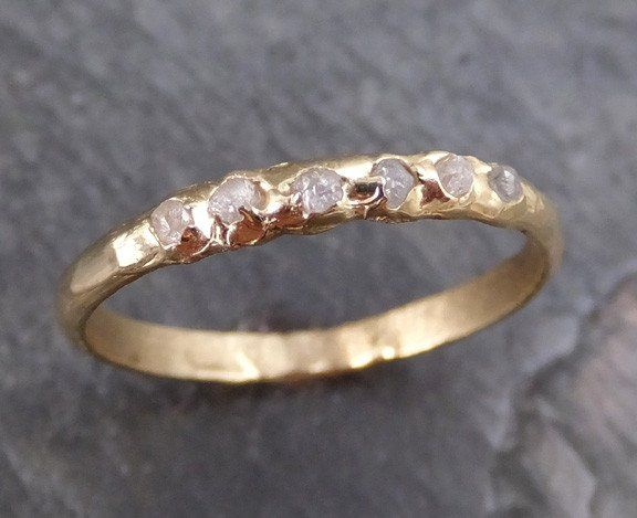 Raw Rough Uncut Diamond Wedding Band 14k Gold Wedding Ring