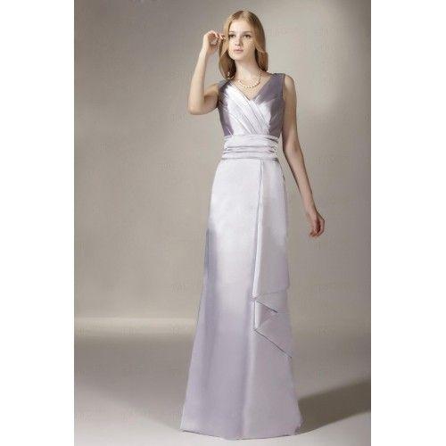 Strecke|Silk Satin Bodenlang V Ausschnitt Elegant|Bescheiden Brautjungfernkleider Günstig $273.99 Brautjungfernkleider Günstig