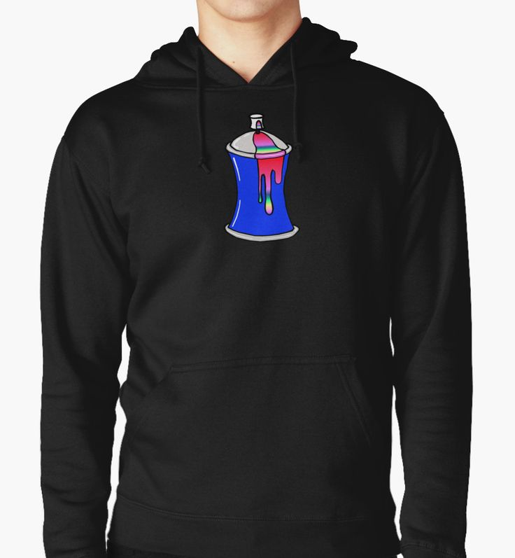 Graffiti style Spray can. Available on hoodies.