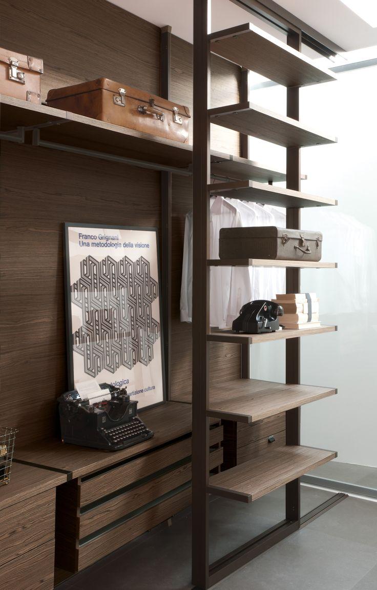 Wooden walk-in wardrobe RI-VISTA by @albedmilano  by Delmonte