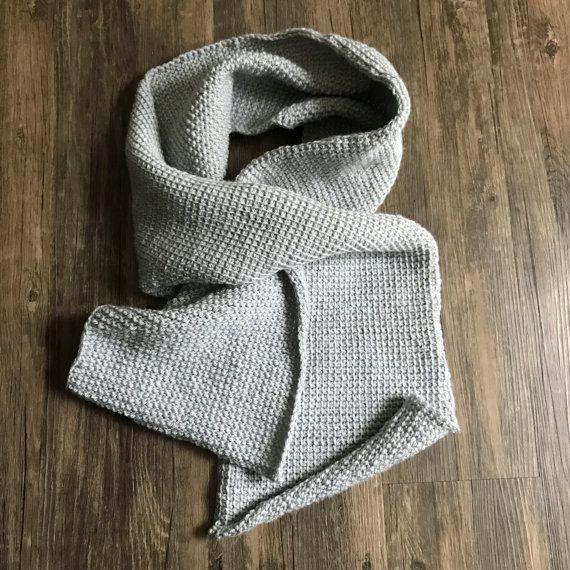 Silver Grey Crochet Scarf
